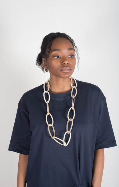 Necklace Horn Links Long Beige
