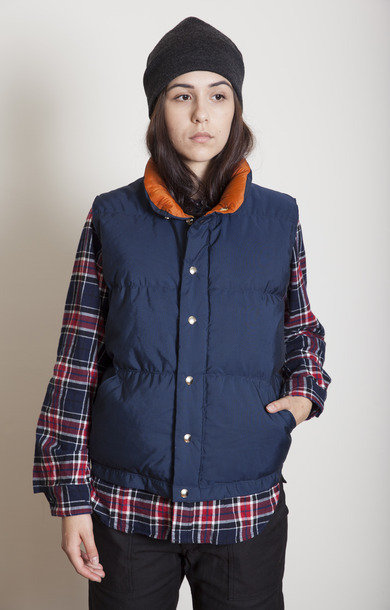 Italian Vest Down Navy/Rust