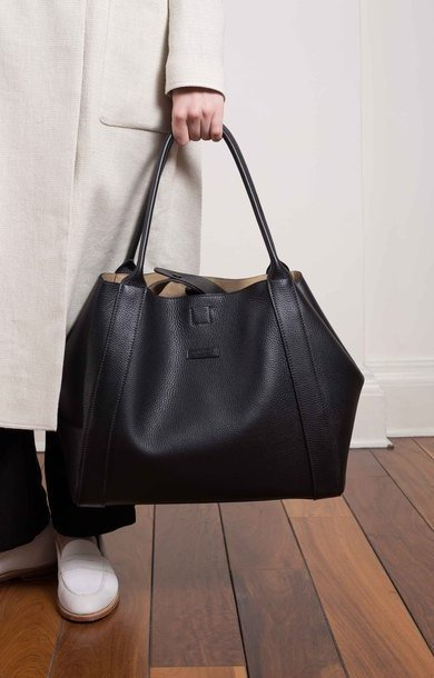 Lg Soft Pebbled Leather Button Close Shopper Black