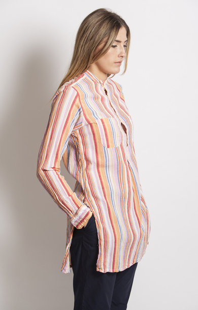 Banded Collar Long Shirt Orange Multi Gauze Stripe