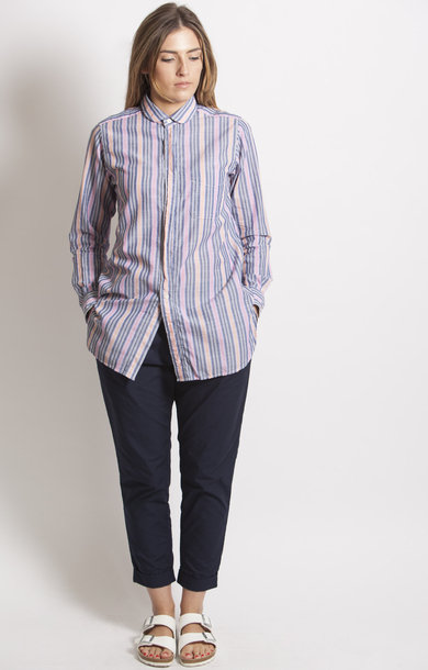 Round Collar Shirt Pink/Orange Wide Multi Stripe