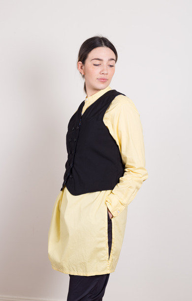 Banded Collar Long Shirt Yellow