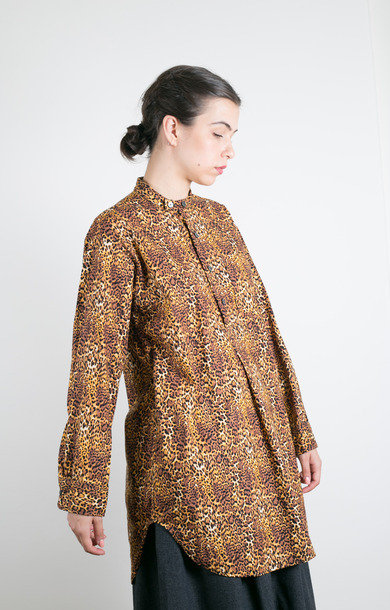 Banded Collar Shirt Brown Cotton Leopard
