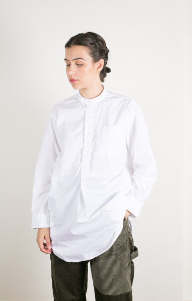 Banded Collar Shirt White 100's 2 Ply