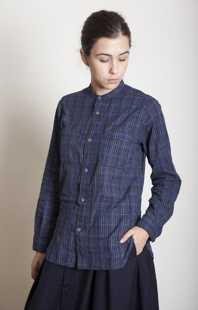 Banded Shirt Collar Navy/Purple Small Check