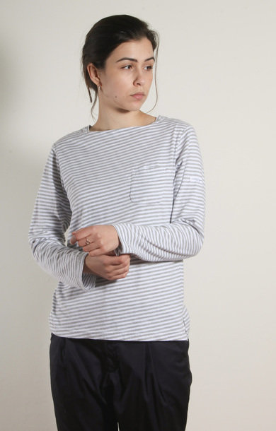 Bask Shirt Grey/White Stripe Jersey