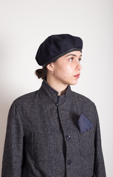 Beret Dk Navy Worsted Heavy Wool