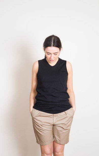 Black Cotton U Neck Top