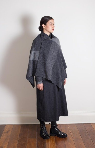 Button Shawl Dark Grey Herringbone