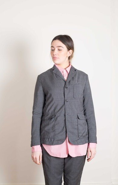 Charcoal Wool Glen Plaid Baker Jacket