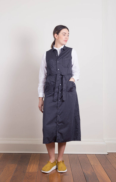 Classic Shirt Dress Navy Polka Dot