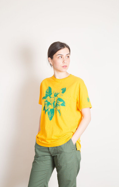 Crew Neck T-Shirt Floral Gold
