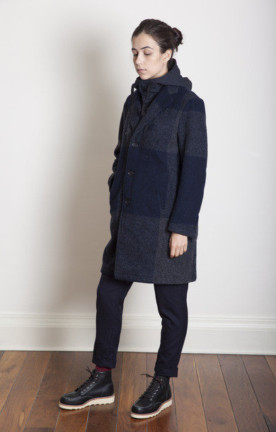 Dark Navy/Grey Big Plaid Melton Chester Coat