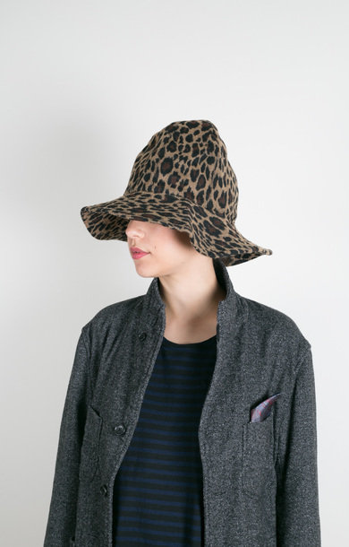 Dome Hat Brown Poly Wool Leopard Jacquard