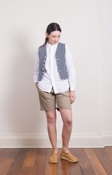 Knit Vest Cotton Navy Stripe
