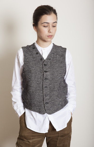 Knit Vest Jersey Grey Herringbone