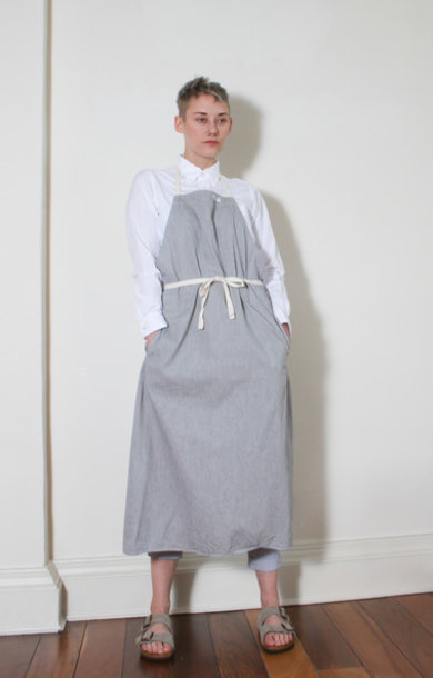Long Apron H. Grey Lt Weight Twill
