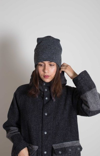 Long Beanie Grey Herringbone Fleece