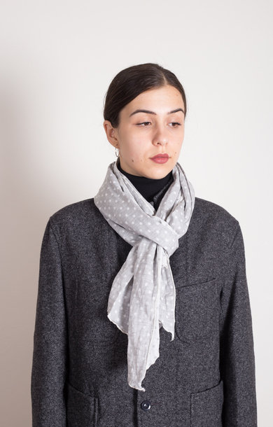 Long Scarf H Grey Polka Double Gauze