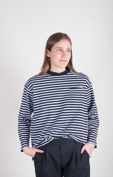 Long Sleeve Crew Navy/White