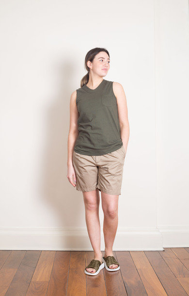 Olive Cotton U Neck Top