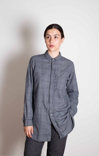 Rounded Collar Shirt Dk. Grey Brushed Gl