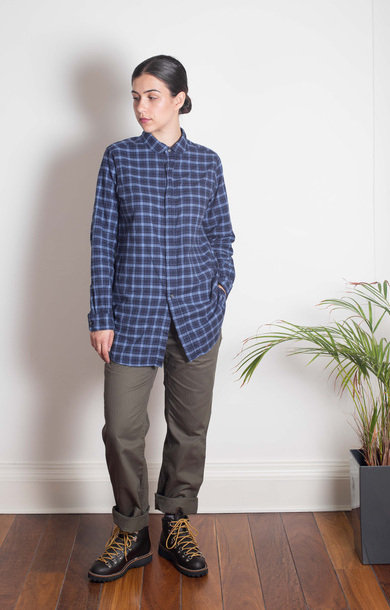 Rounded Collar Shirt Navy/Lt Blue Plaid