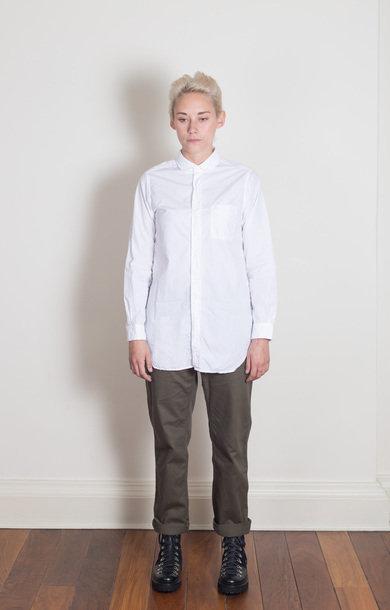 Rounded Collar Shirt White 100's 2PLY