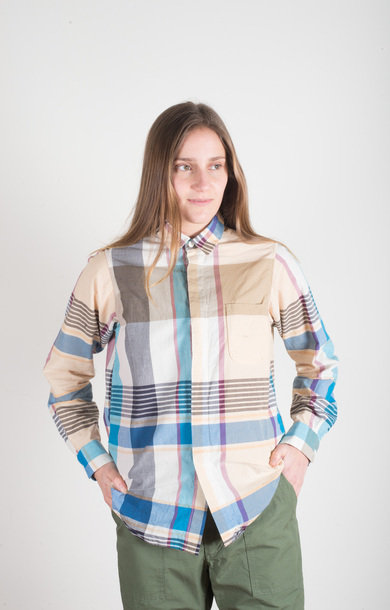 Short Collar Shirt Khaki Plaid