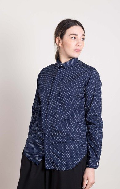 Short Collar Shirt Navy Polka Dot