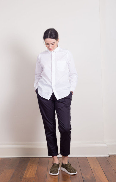 Short Collar Shirt White Poplin