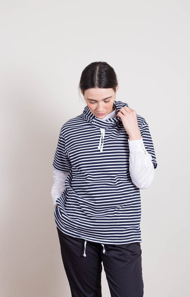 Short Sleeve Hoody Navy Stripe