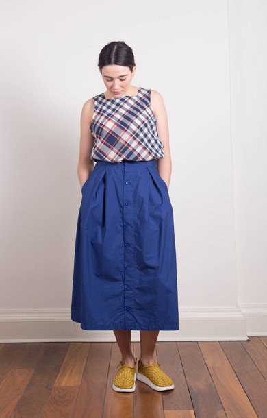Tuck Skirt Blue Poplin