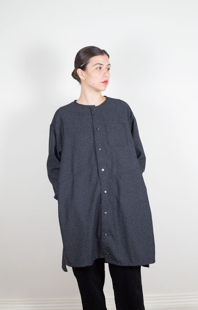 Tunic Dress Charcoal Small Herringbone