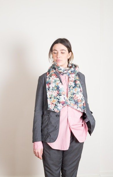 White Watercolour Floral Long Scarf