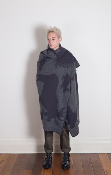 Wool Blanket Grey Animal Wool Jaquard