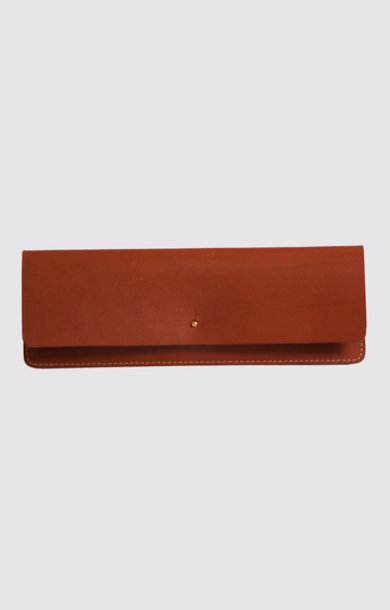 Leather Clutch Dark Tan