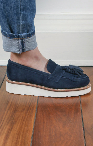 Clara Suede Loafer Navy