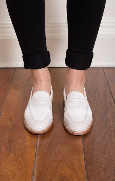 Fleur White Burnished Loafer