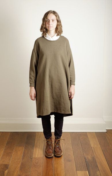 Berge Sleeve Dress Khaki