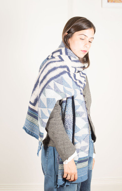 CMPRS Wool Scarf Tweed Kogin X Navy
