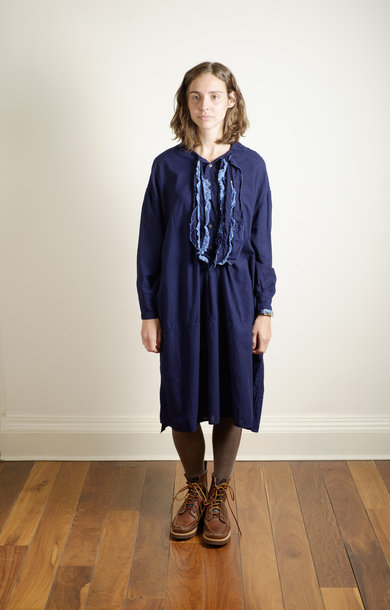 Gauze Broccoli Hiyoku Dress Indigo