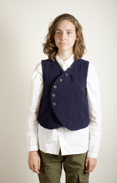 Melton Wool Pan Vest Navy