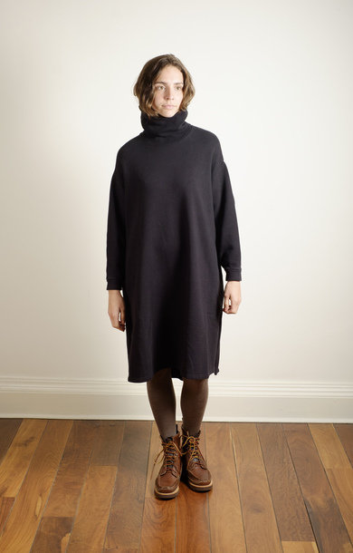 Turtle Neck Berge Sleeve Dress Black