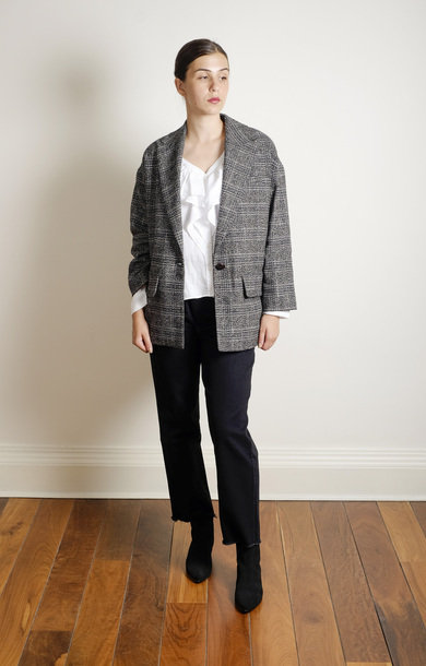 Boyfriend Check Jacket Grey
