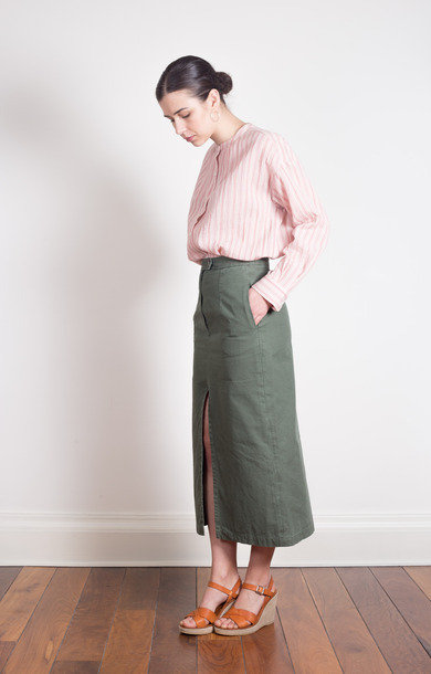 Cotton Front Split Skirt Khaki