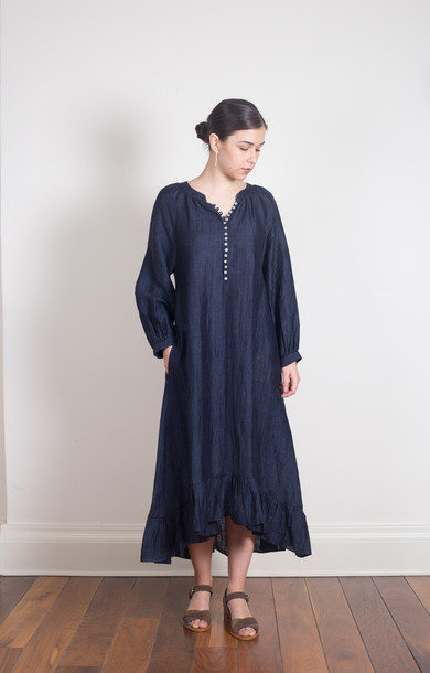 Linen Blend Long Dress Navy