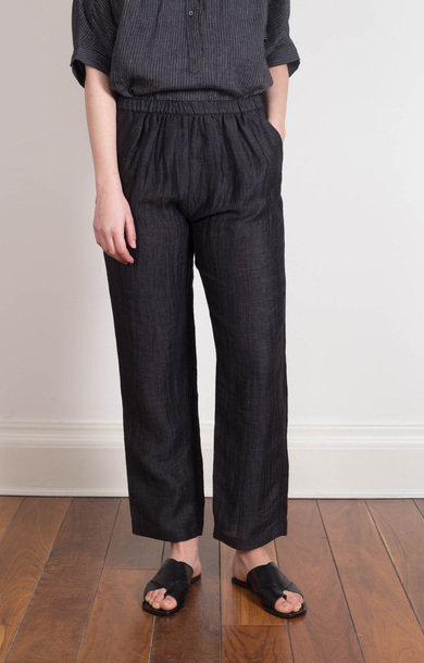Linen High Rise Trousers Black