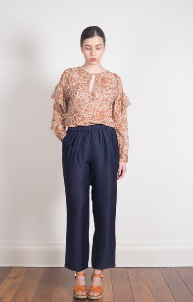 Linen High Rise Trousers Navy