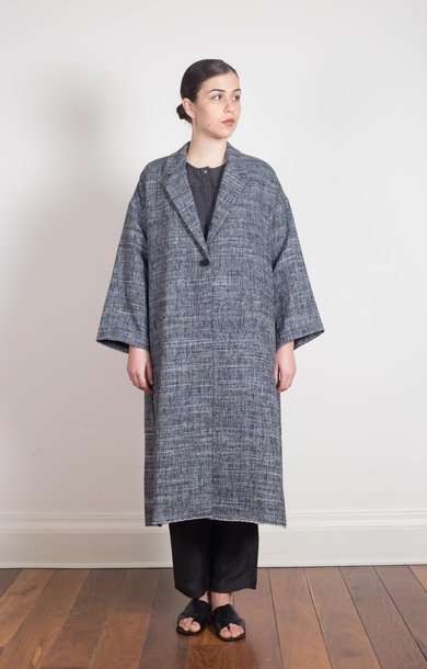 Linen Textured Coat Navy